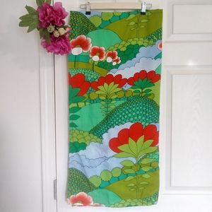 Vintage retro green red floral baby blanket